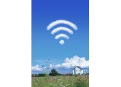 信号标志与蓝天白云