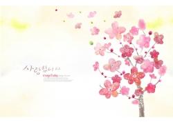 水彩画唯美鲜花背景