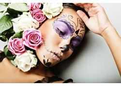玫瑰与彩妆美女