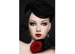 玫瑰花与美女
