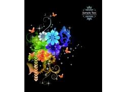 梦幻鲜花蝴蝶背景图案