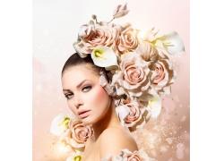 粉色玫瑰花美女