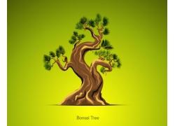 矢量卡通小树