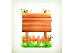 矢量卡通木栅栏