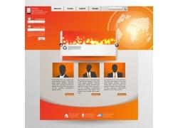 橘色明亮系地球背景网站设计