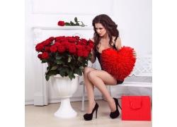 红色玫瑰花与美女