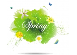 绿树鲜花蝴蝶春天背景