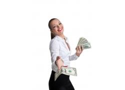 拿着美元的女人
