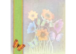 鲜花蝴蝶复古背景