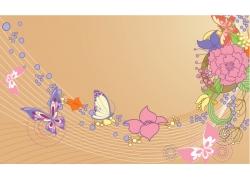 卡通鲜花蝴蝶背景