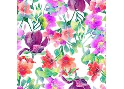 水彩鲜花无缝背景
