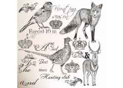 动物插画与皇冠